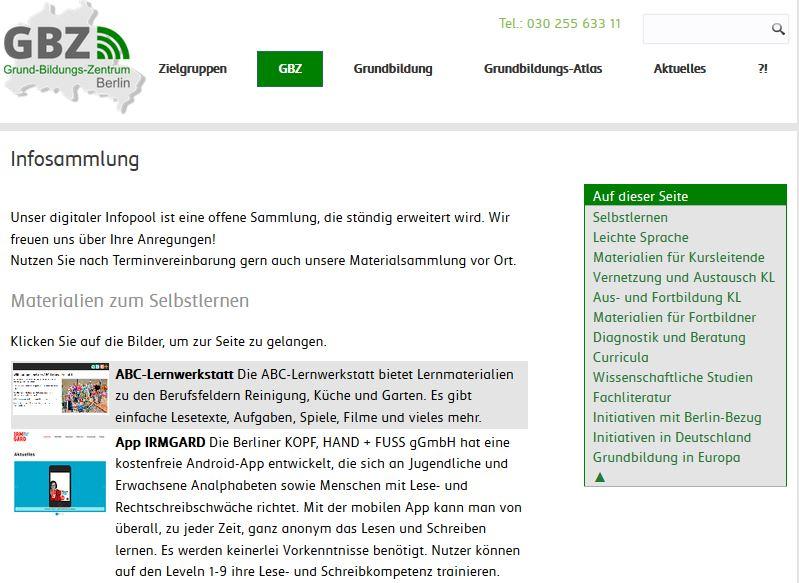 Screenshoot Infosammlung