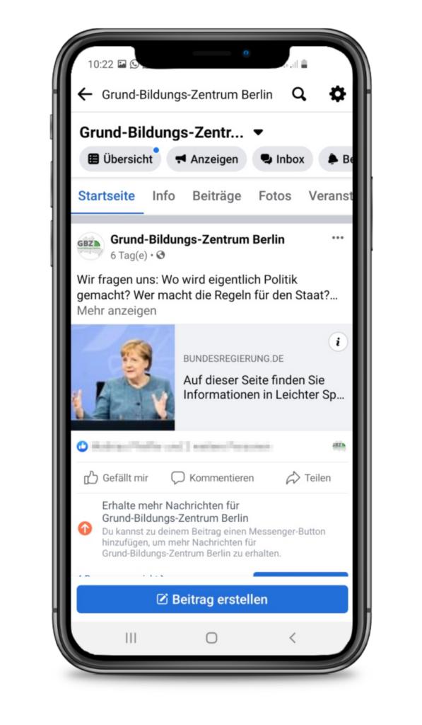 Handy mit Facebook-Seite vom GBZ